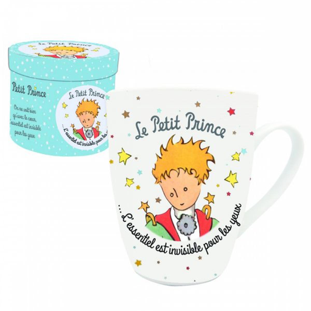 Coffret mug porcelaine \'Le Petit Prince\' blanc multicolore (cape et épée) - 8x10 cm - [R2012]