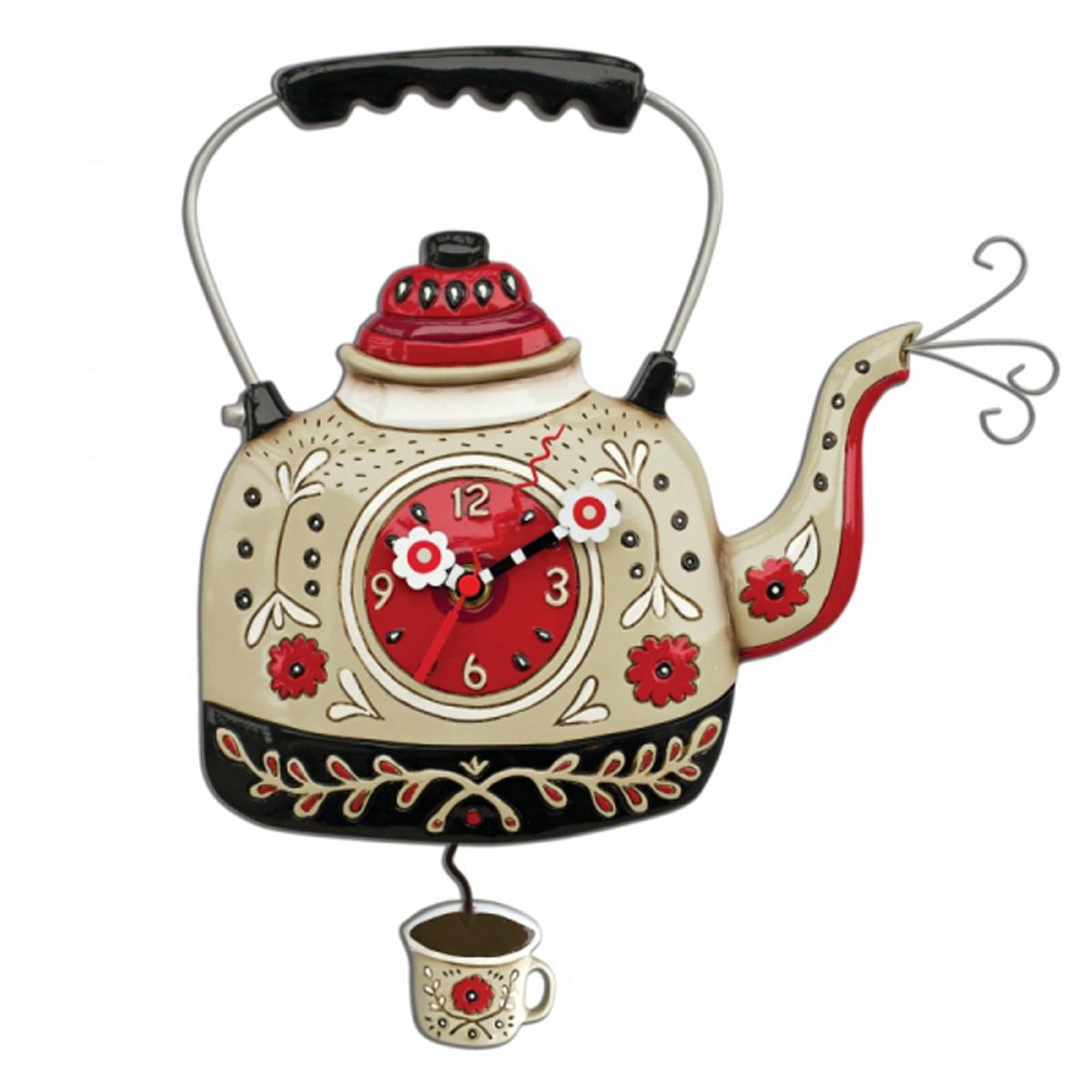 Horloge Murale \'Allen Designs\' rouge beige (bouilloire à thé) - 355x28 cm - [R2962]