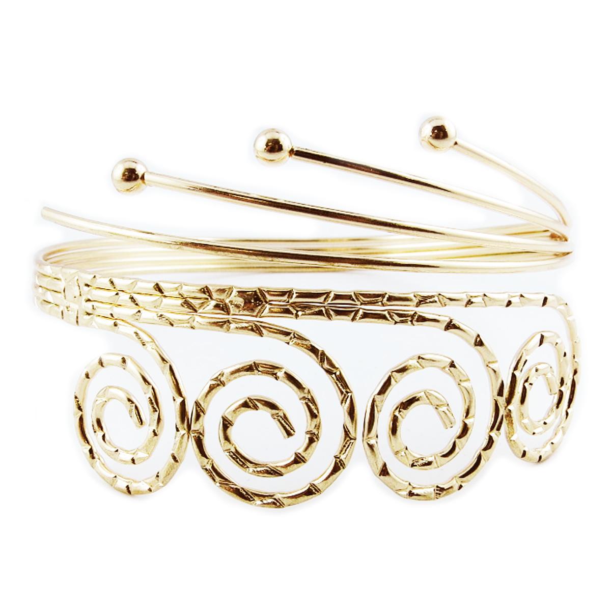 Bracelet bras créateur \'Cleopatra\' doré - largeur 50 mm - [R4050]
