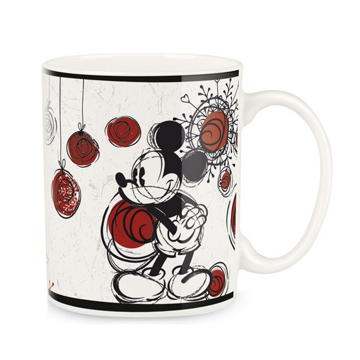 Mug céramique \'Mickey\' (Mickey Mouse) blanc rouge - 90x85 mm (330 ml) - [A1479]