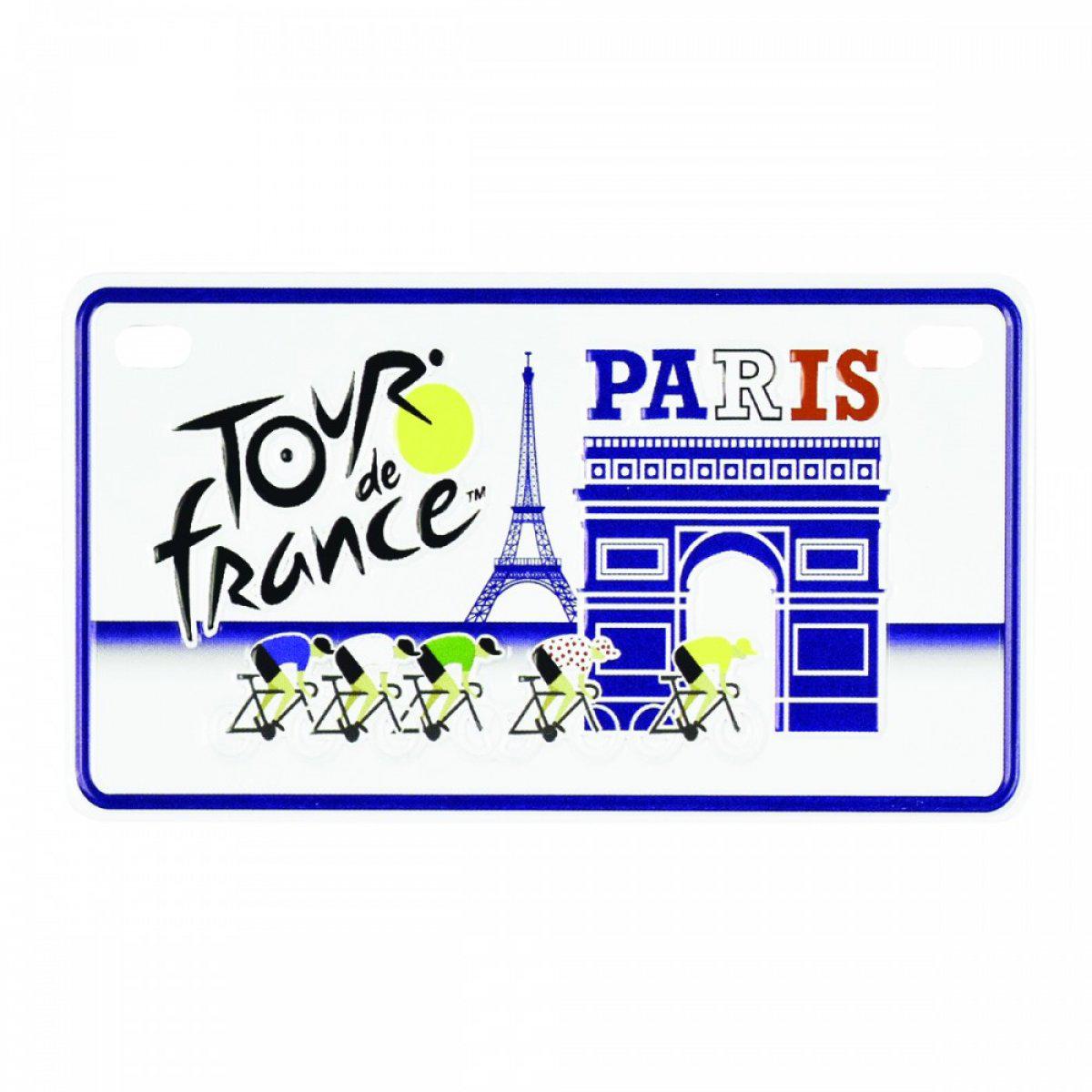Magnet métal \'Tour de France\' bleu blanc rouge - 10x6 cm - [A1953]