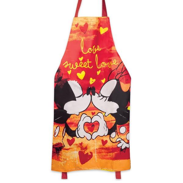 Tablier créateur coton \'Mickey & Minnie\' orange (love sweet love) - 88x60 cm - [A2006]