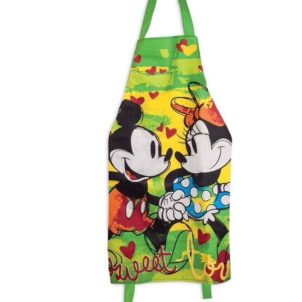 Tablier créateur coton \'Mickey & Minnie\' vert (sweet love) - 88x60 cm - [A2007]