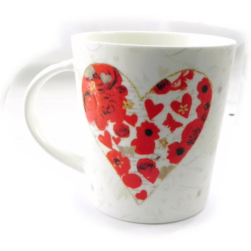 Mug porcelaine \'Love\' rouge blanc - 90x95 mm - [I5631]
