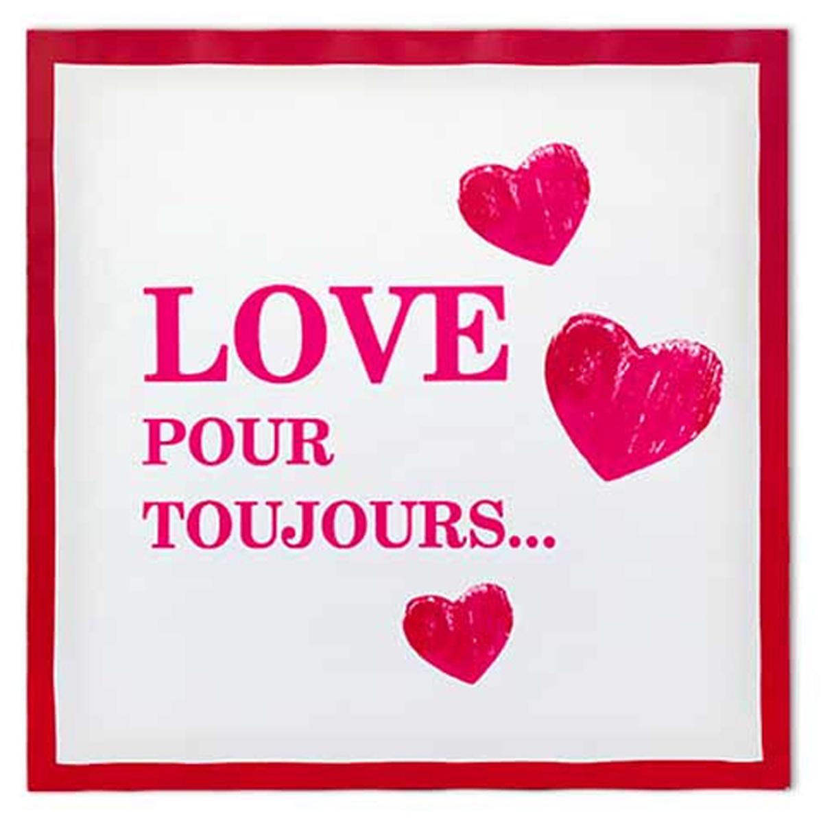 Toile \'Love\' écru rouge (40x40 cm) - [M2197]
