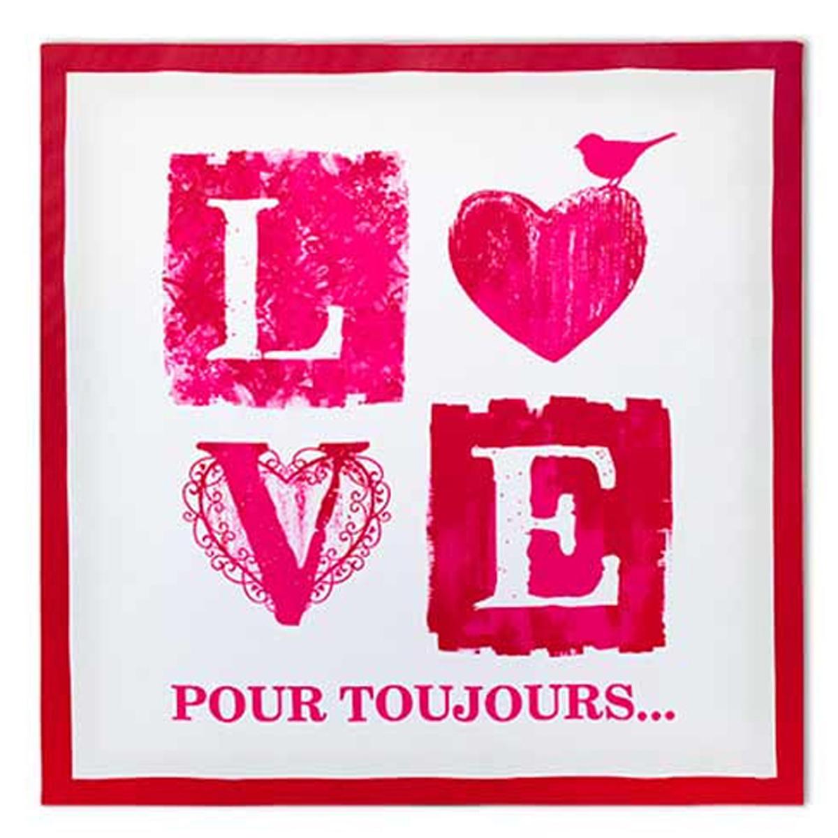 Toile \'Love\' écru rouge (40x40 cm) - [M2198]