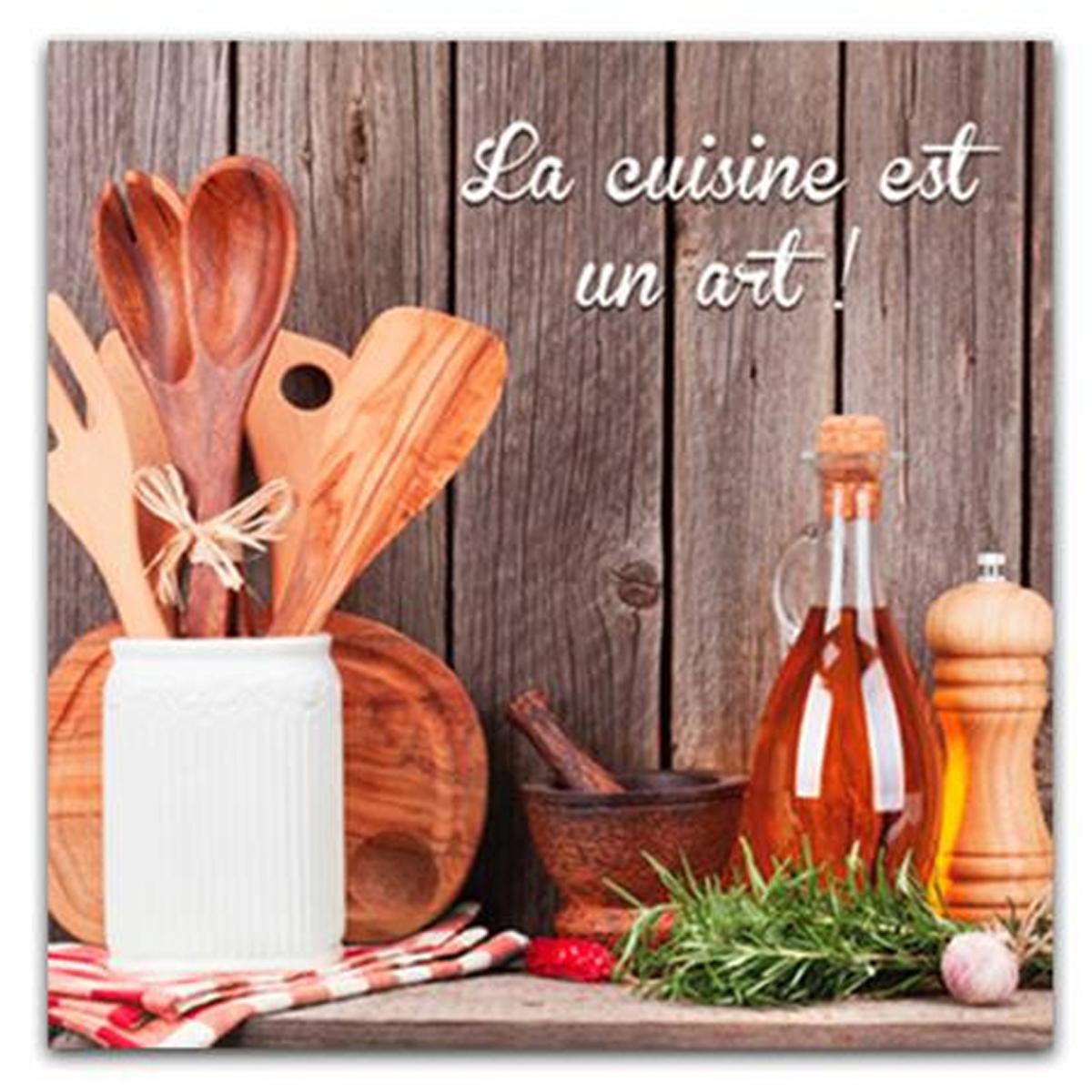 Toile \'Cuisine\' (La cuisine est un art) - 40x40 cm - [P5236]