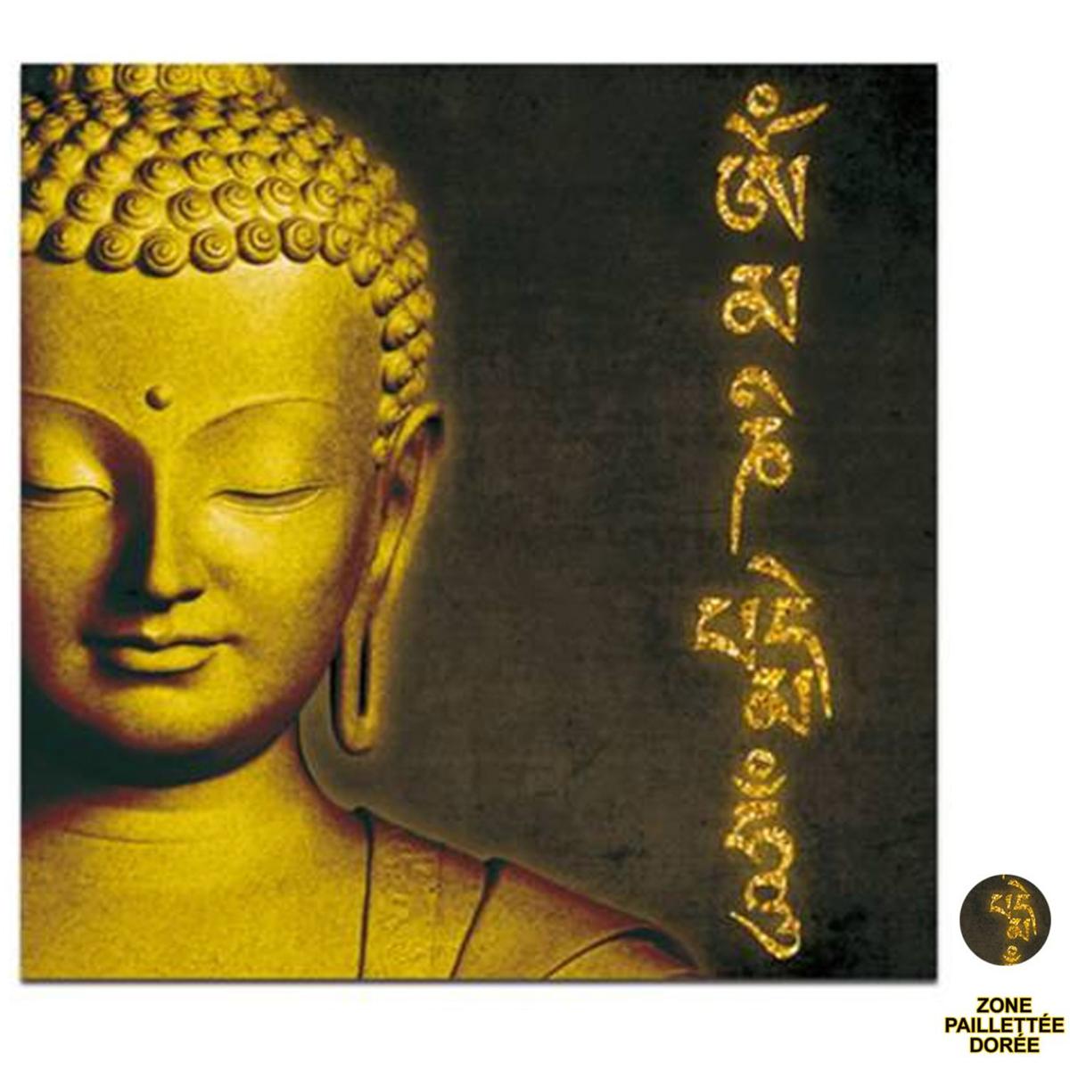Toile \'Bouddha\' noir doré - 40x40 cm - [P6480]