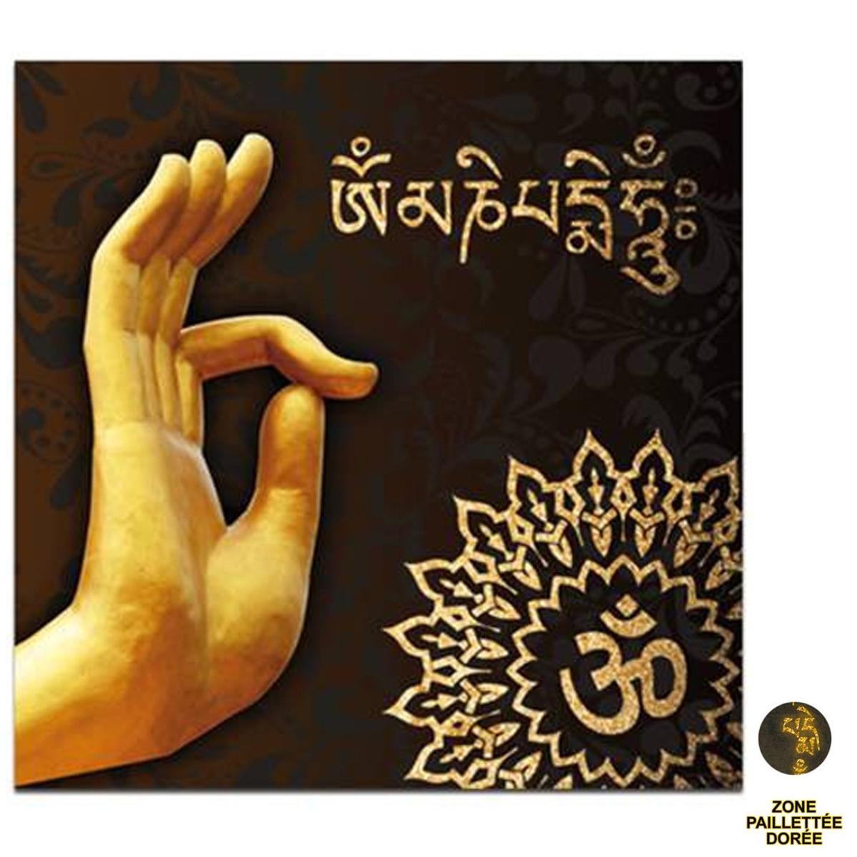 Toile \'Bouddha\' noir doré - 40x40 cm - [P6482]