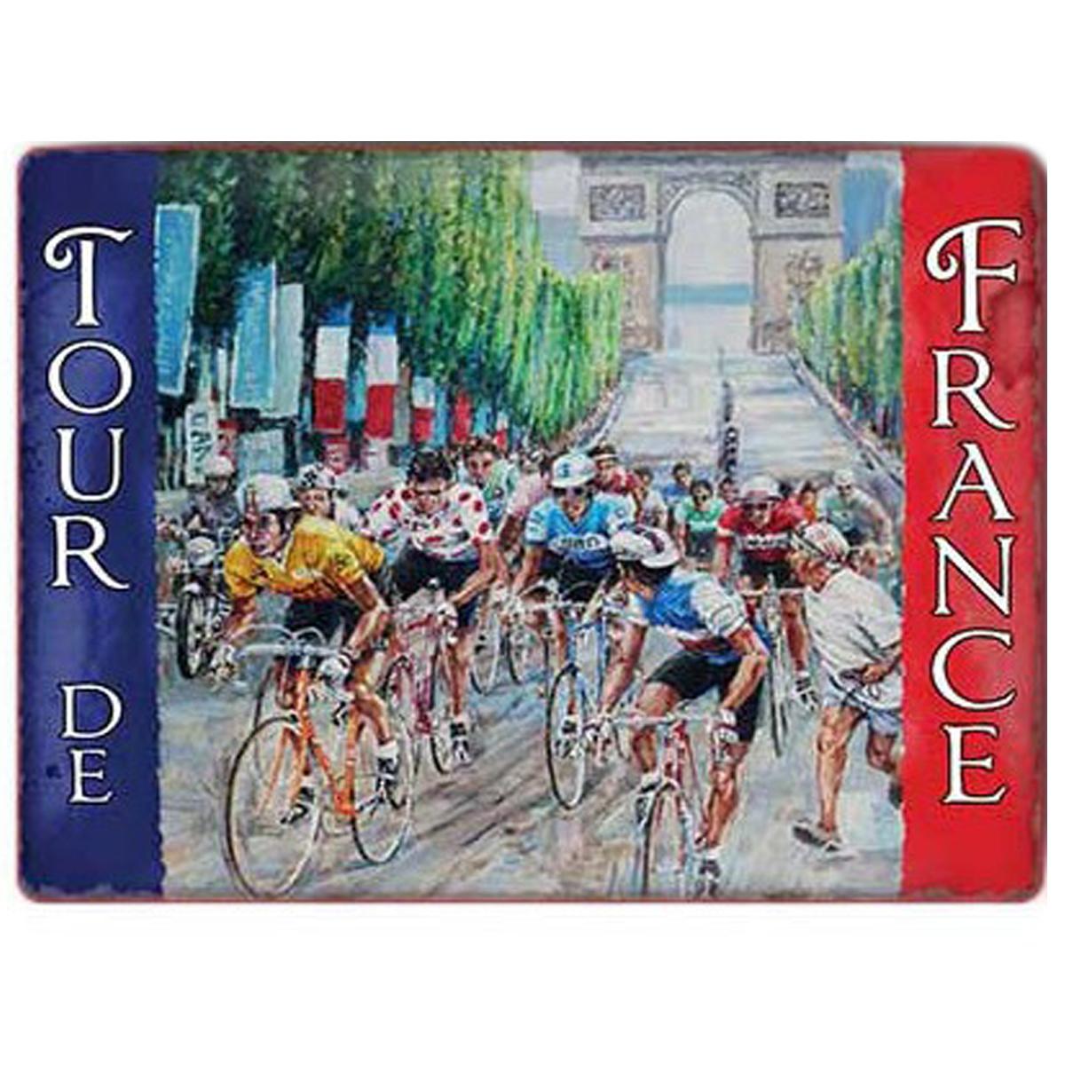 Magnet métal rétro \'Tour de France\' bleu blanc rouge (arrivée champs élysées) - 9x65 cm - [Q9203]