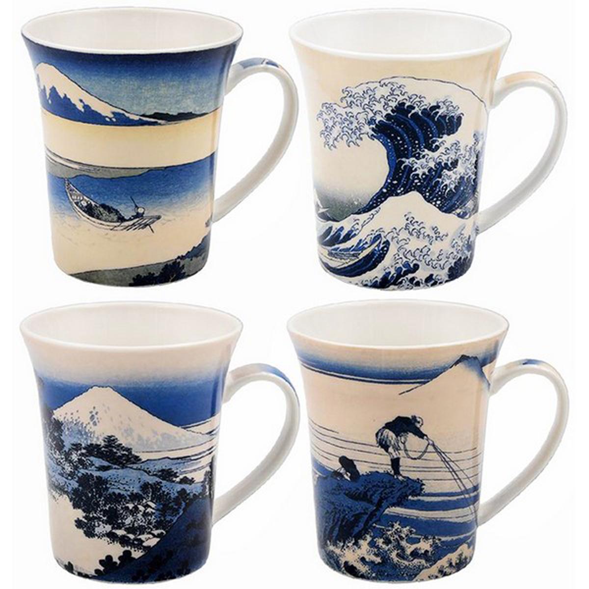 Coffret mugs porcelaine \'Hokusai\' bleu (La Grande Vague de Kanagawa)  - 10x85 cm (4 mugs) - [A0197]