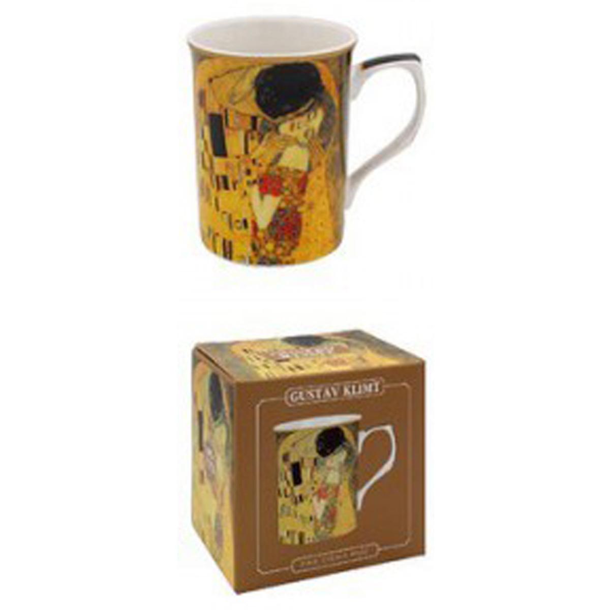 Mug porcelaine \'Gustav Klimt\' marron (le Baiser) - 10x75 cm - [A1258]