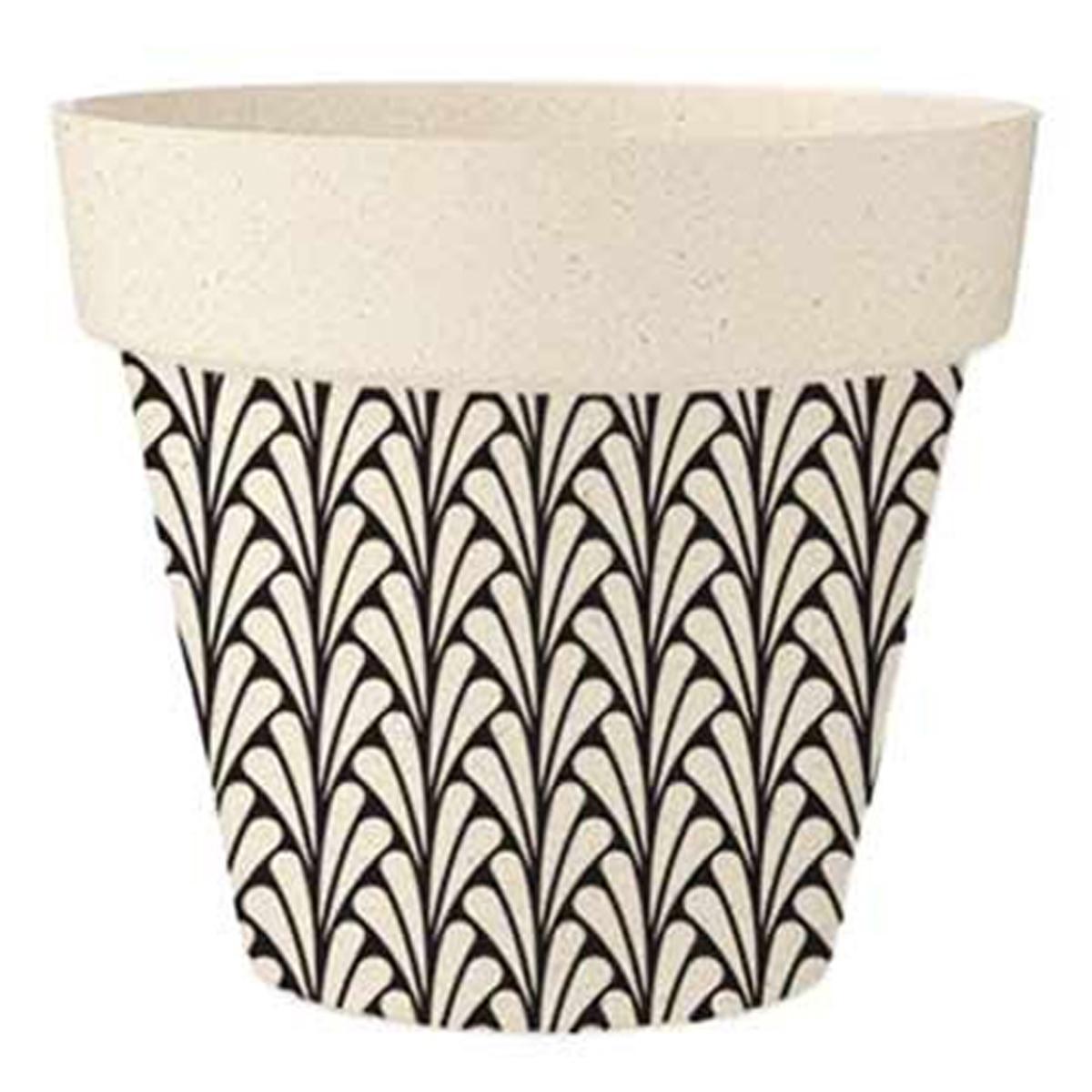 Cache-pot bambou \'Boho\' noir beige -  14x12 cm - [A1631]