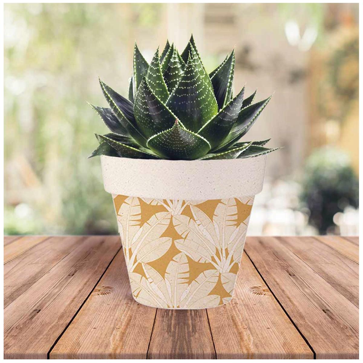 Cache-pot bambou \'Tropical\' orange beige -  14x12 cm - [A1705]