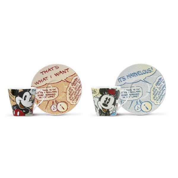 Coffret 2 tasses espressos porcelaine \'Mickey & Minnie\' - tasse 6x6 cm - [A2004]