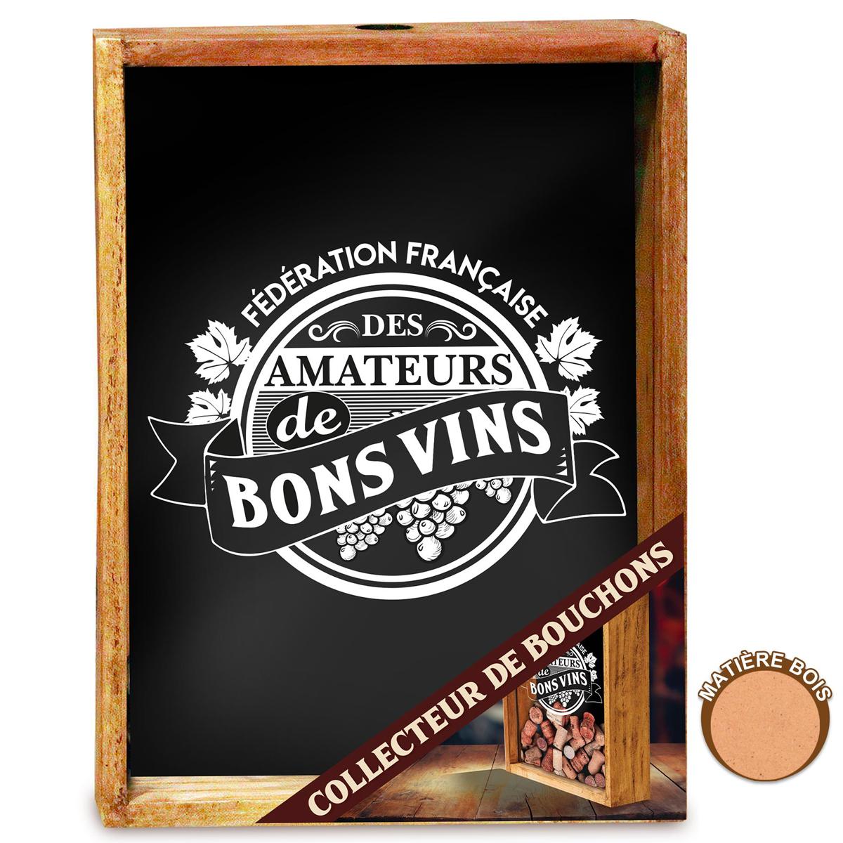 Collecteur Bouchons de vins \'FF Amateurs de Bons Vins\' (bois) - 25x19x8 cm - [A2015]