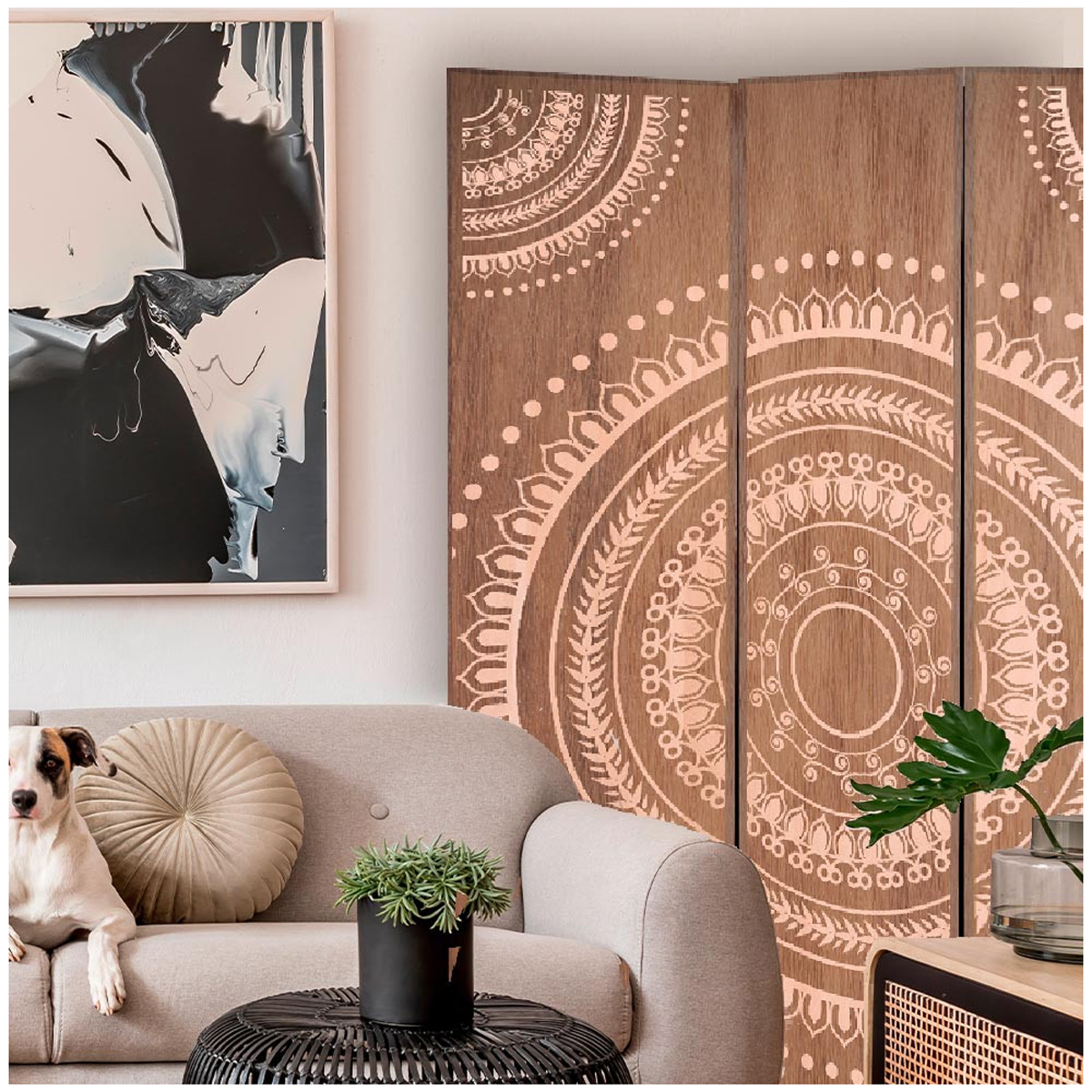 Paravent toile \'Mandala Bois\' marron - 180x120 cm - [A2017]