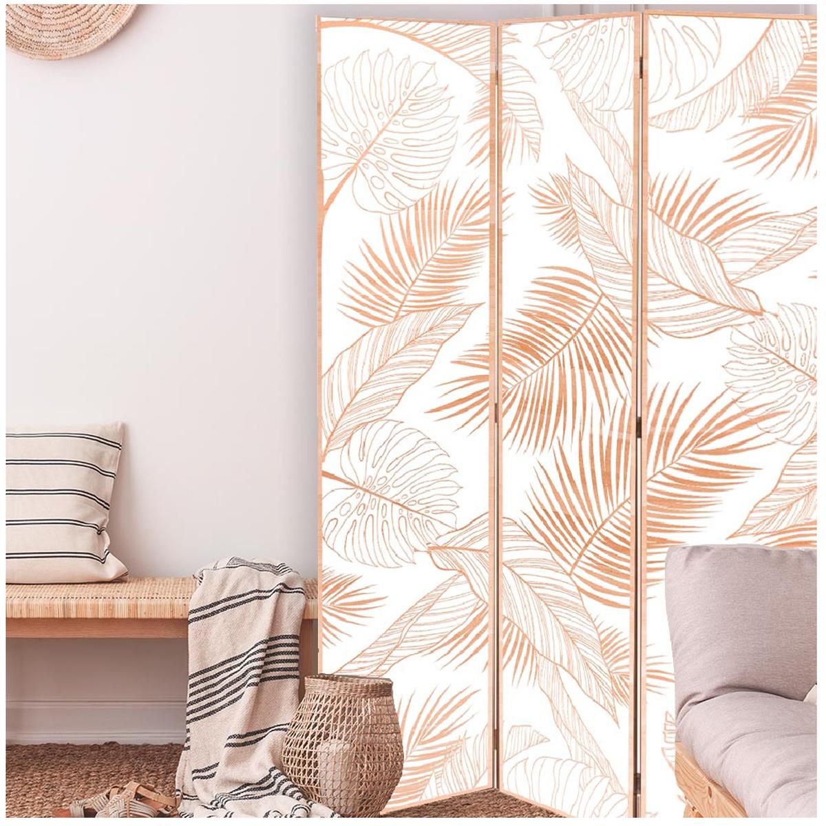 Paravent toile \'Tropical\' beige blanc - 180x120 cm - [A2019]