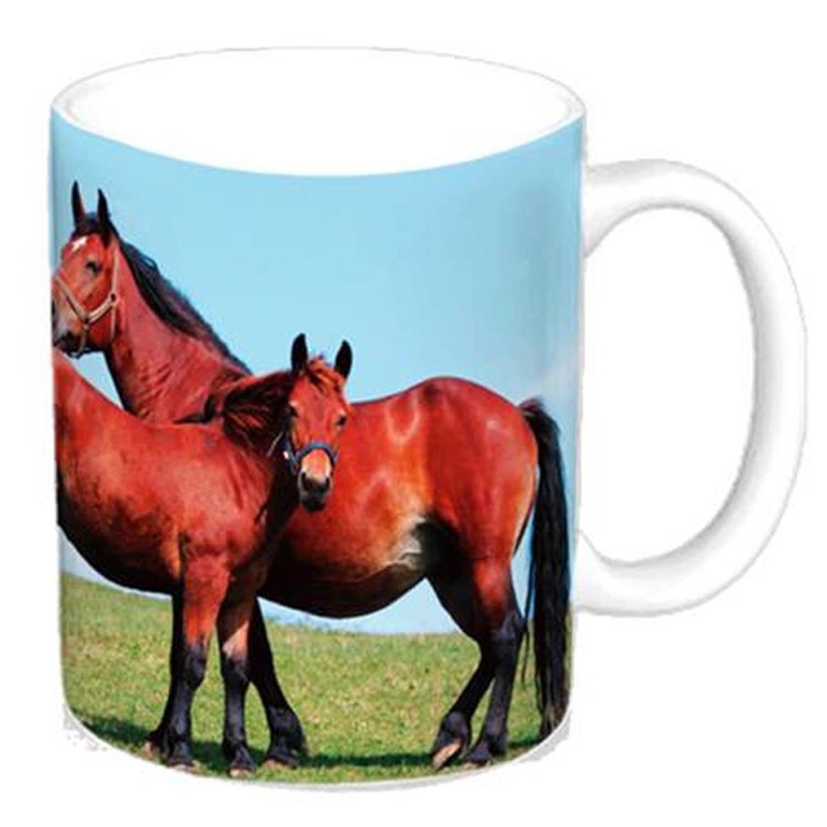 Mug céramique \'Passion Chevaux\' marron bleu - 95x8 cm - [A2023]