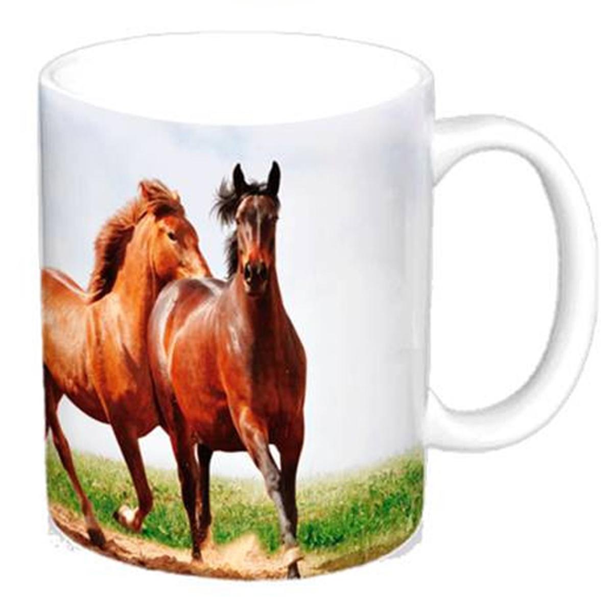Mug céramique \'Passion Chevaux\' marron beige - 95x8 cm - [A2024]