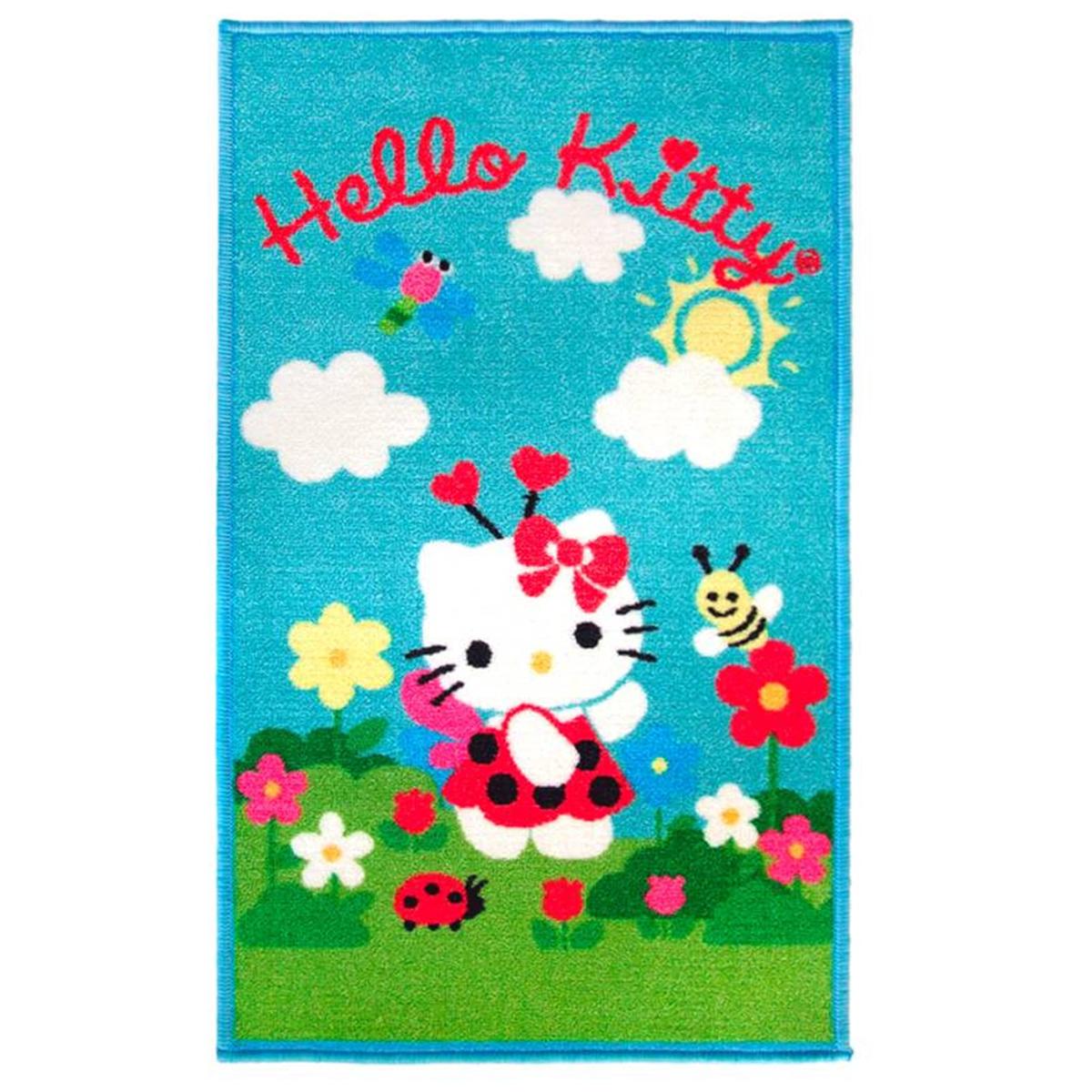 Tapis créateur \'Hello Kitty\' turquoise multicolore - 80x50 cm - [A2030]