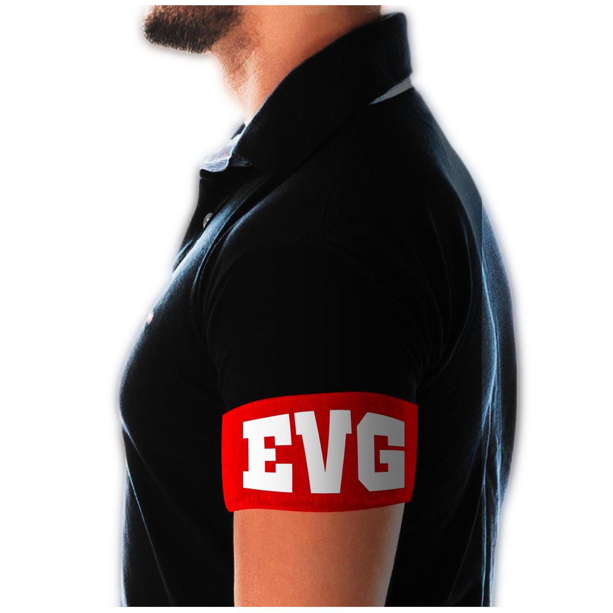 Brassard humoristique \'EVG\' rouge (Enterrement de vie de garçon) - 9 cm - [A2034]
