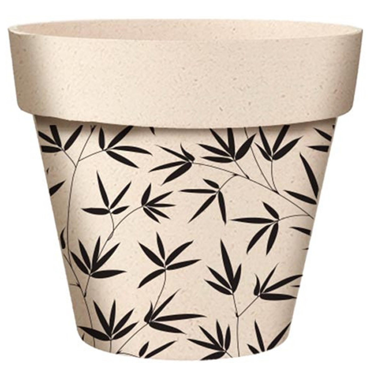 Cache-pot bambou \'Bambou\' noir beige - 17x15 cm - [A2055]