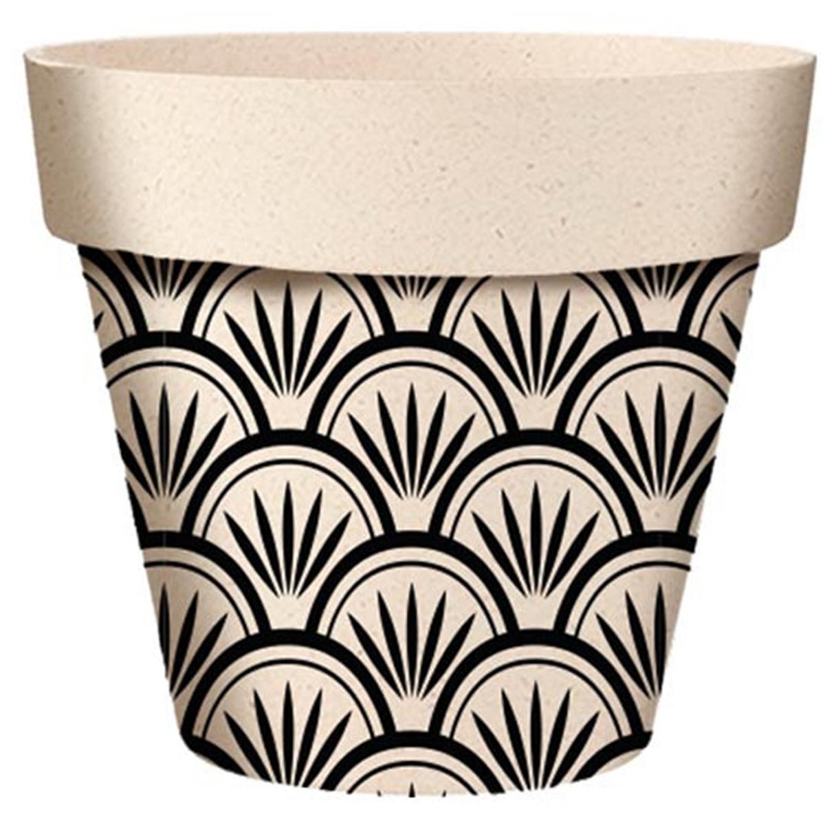 Cache-pot bambou \'Boho\' noir beige -  14x12 cm - [A2057]