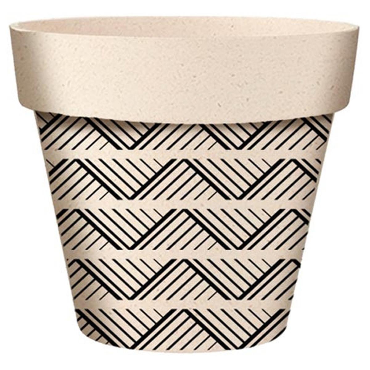 Cache-pot bambou \'Boho\' noir beige -  14x12 cm - [A2058]
