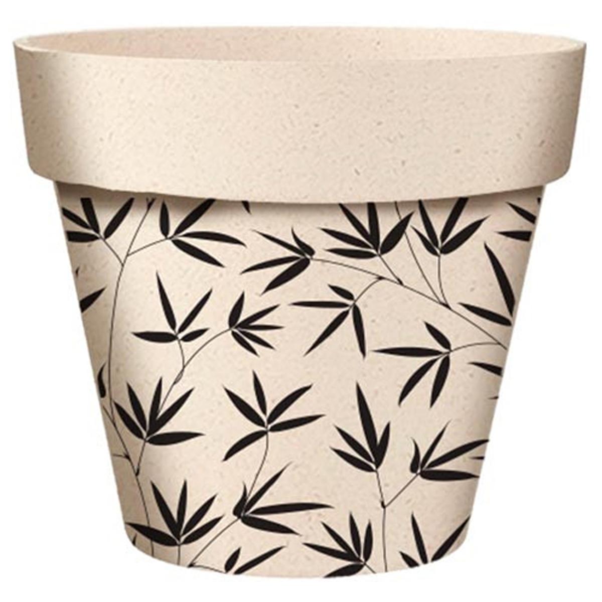 Cache-pot bambou \'Bambou\' noir beige -  14x12 cm - [A2068]