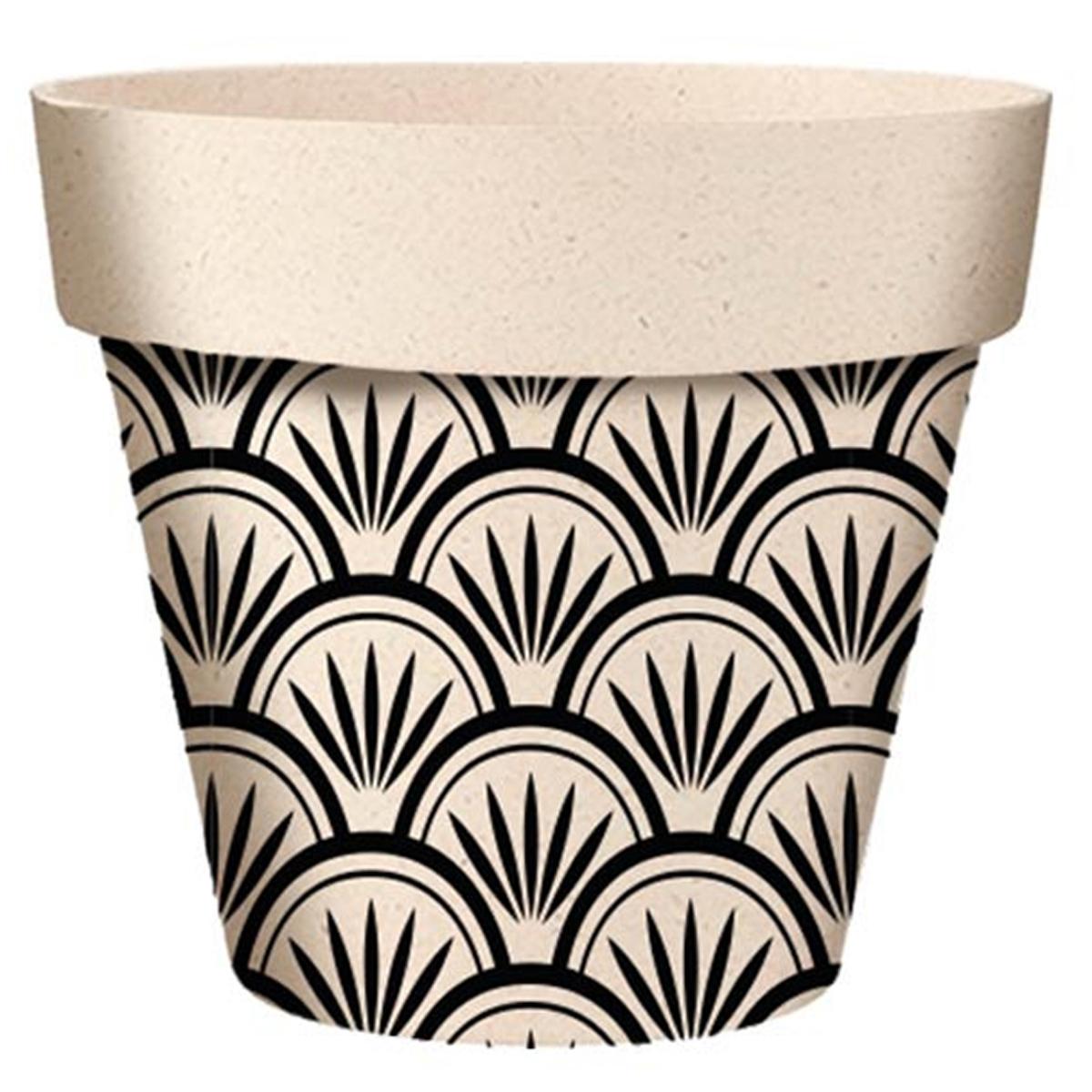 Cache-pot bambou \'Boho\' noir beige -  7x6 cm - [A2069]
