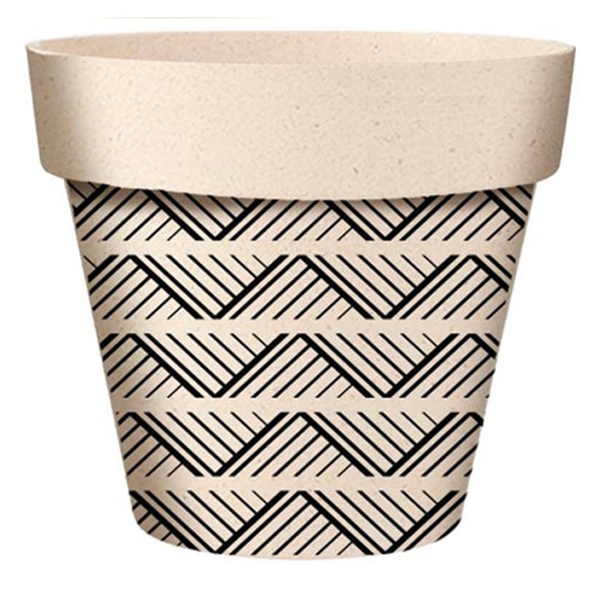 Cache-pot bambou \'Boho\' noir beige -  7x6 cm - [A2070]