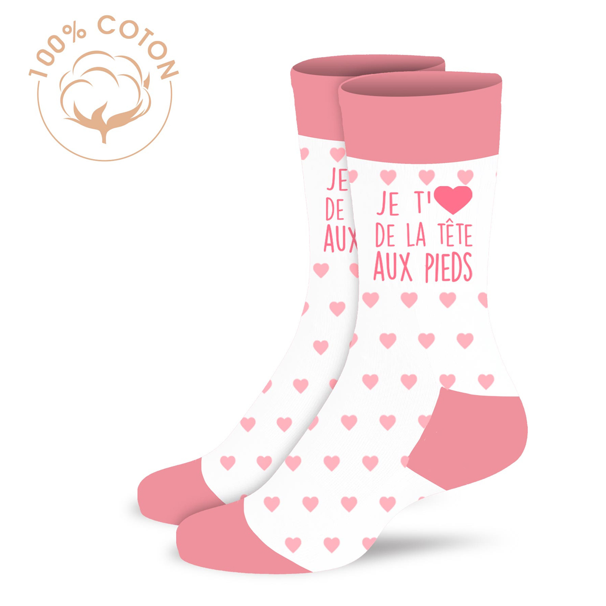 Chaussettes coton tendresse \'Je t\'aime de la tête aux pieds\' rose blanc - taille unique - [A2084]