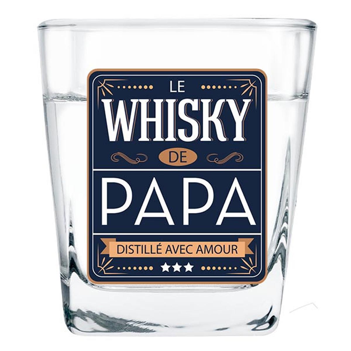 Verre à whisky \'Le Whisky de Papa\' bleu - 85x55 mm - [A2085]