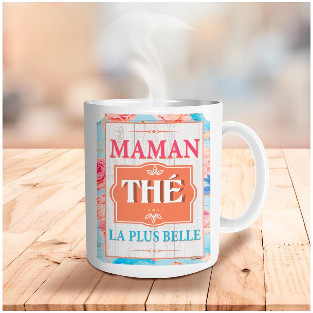 Mug céramique \'Maman thé la plus belle\' multicolore - 95x80 mm - [A2088]