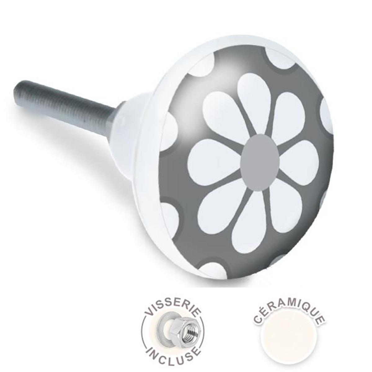 Bouton meuble céramique \'Fleurs\' gris - 65x35 mm - [A2096]