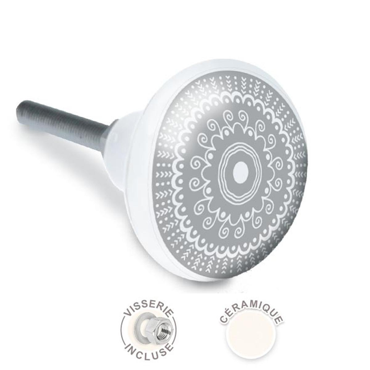 Bouton meuble céramique \'Mandala\' gris - 65x35 mm - [A2100]