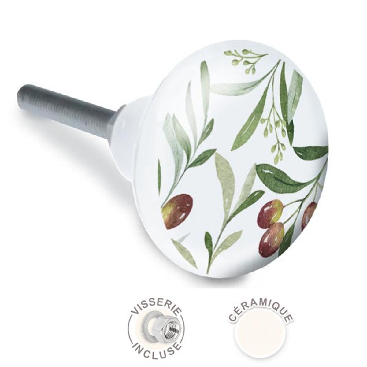 Bouton meuble céramique \'Oliviers\' vert blanc - 65x35 mm - [A2103]