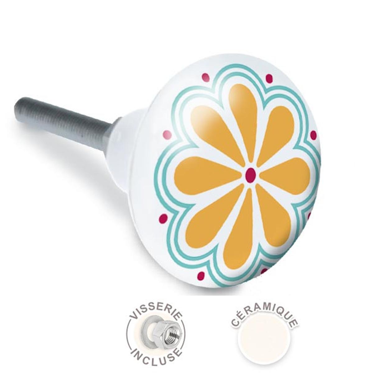 Bouton meuble céramique \'Fleurs\' multicolore - 65x35 mm - [A2104]