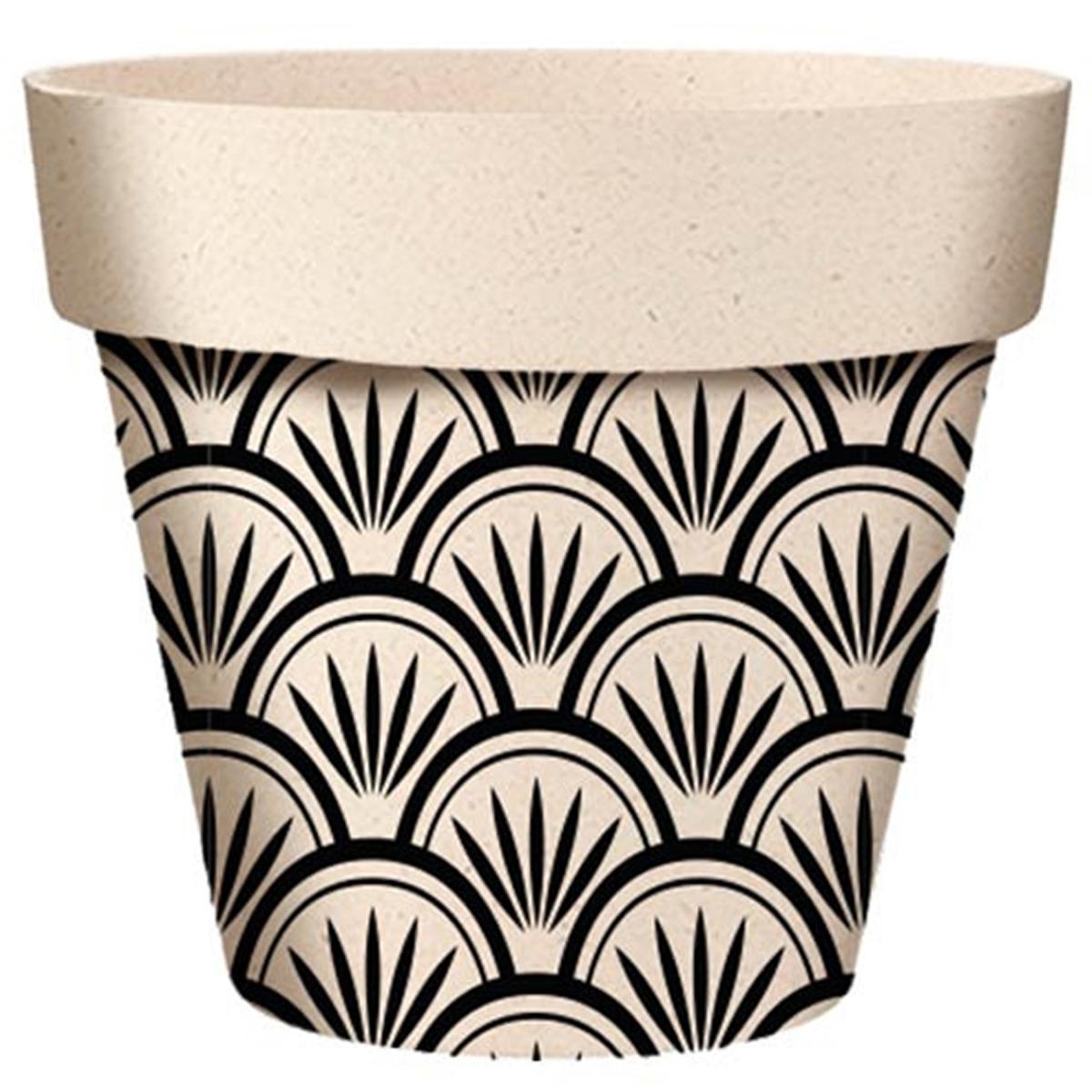 Cache-pot bambou \'Boho\' noir beige -  95x84 mm - [A2145]