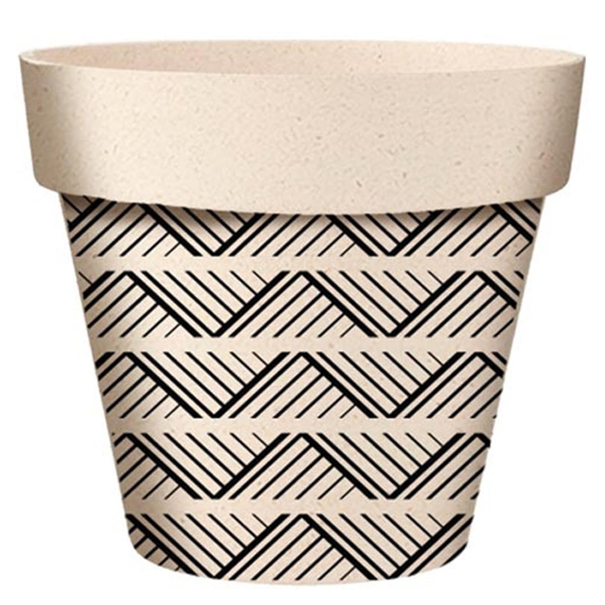 Cache-pot bambou \'Boho\' noir beige -  95x84 mm - [A2146]