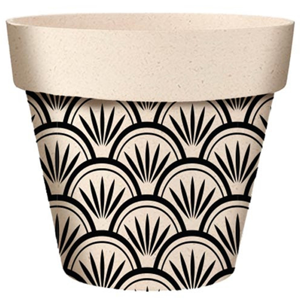 Cache-pot bambou \'Boho\' noir beige  - 22x21 cm - [A2156]