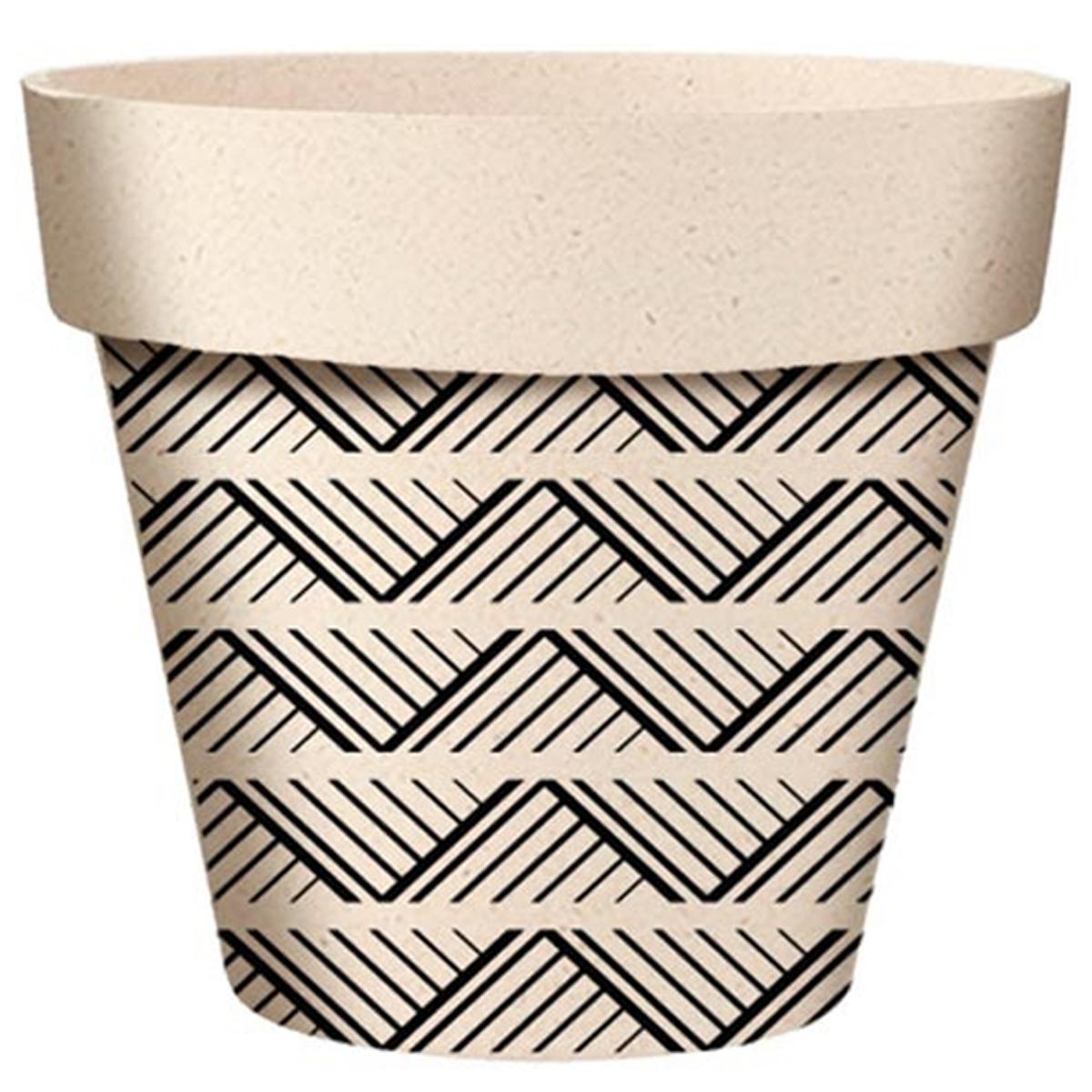 Cache-pot bambou \'Boho\' noir beige  - 22x21 cm - [A2157]