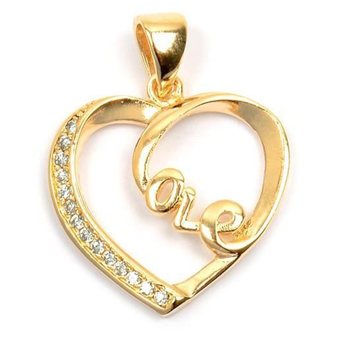 Pendentif Plaqué Or \'Love\' blanc doré - 20x18 mm - [L4380]