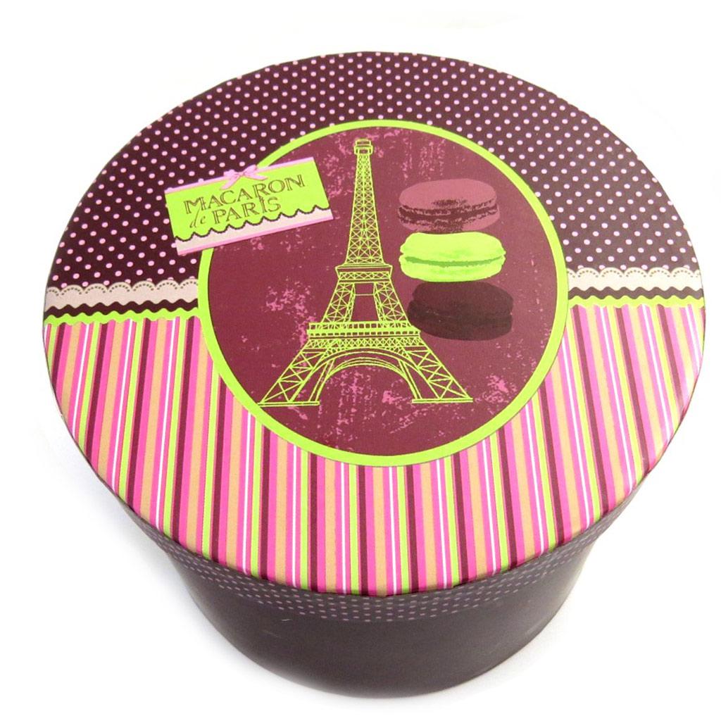 Coffret 2 tasses à café \'Paris\' rose bordeaux (macarons) - 5x6 cm - [M3393]
