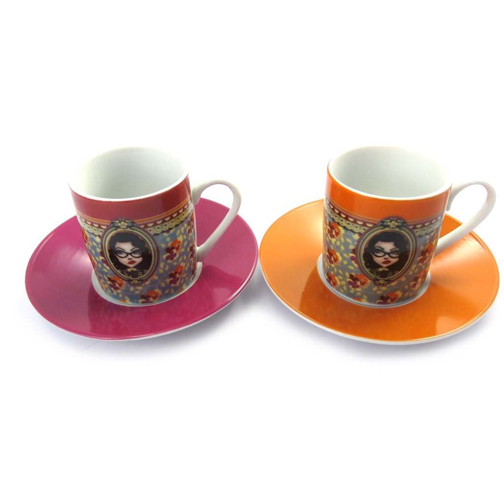 Coffret 2 tasses à café \'Lili Petrol\' rose orange (Jude) - 5x6 cm - [M6362]