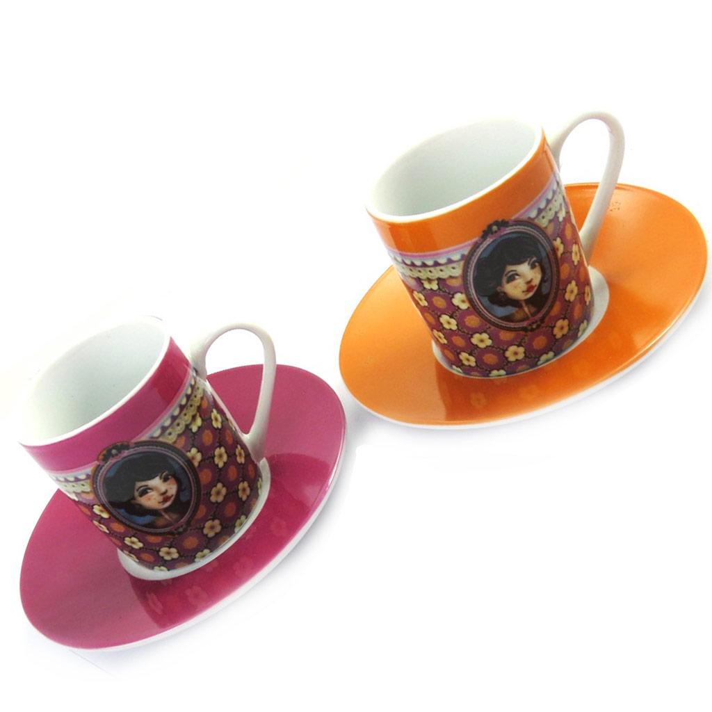 Coffret 2 tasses à café \'Lili Petrol\' rose orange (Emily) - 5x6 cm - [M6363]