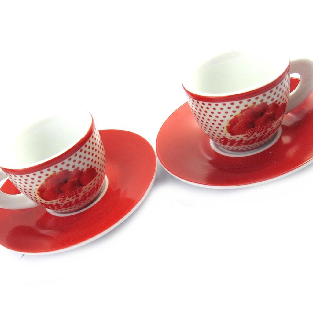 Coffret 2 tasses à café \'Terroir Français\' fait maison - 5x6 cm - [M6364]