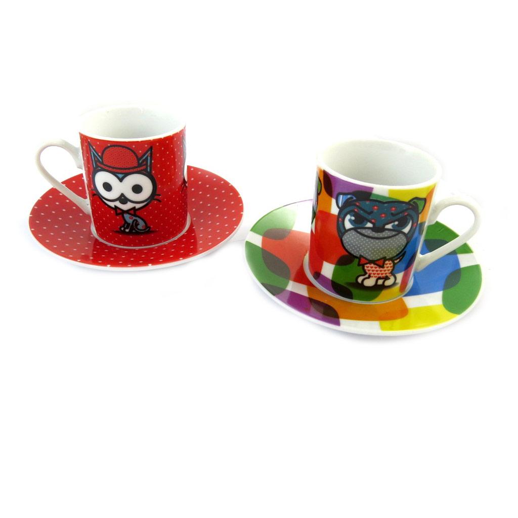 Coffret 2 tasses à café porcelaine \'Chien et Chat Lolita\' roue multicolore - 5x6 cm - [N5822]