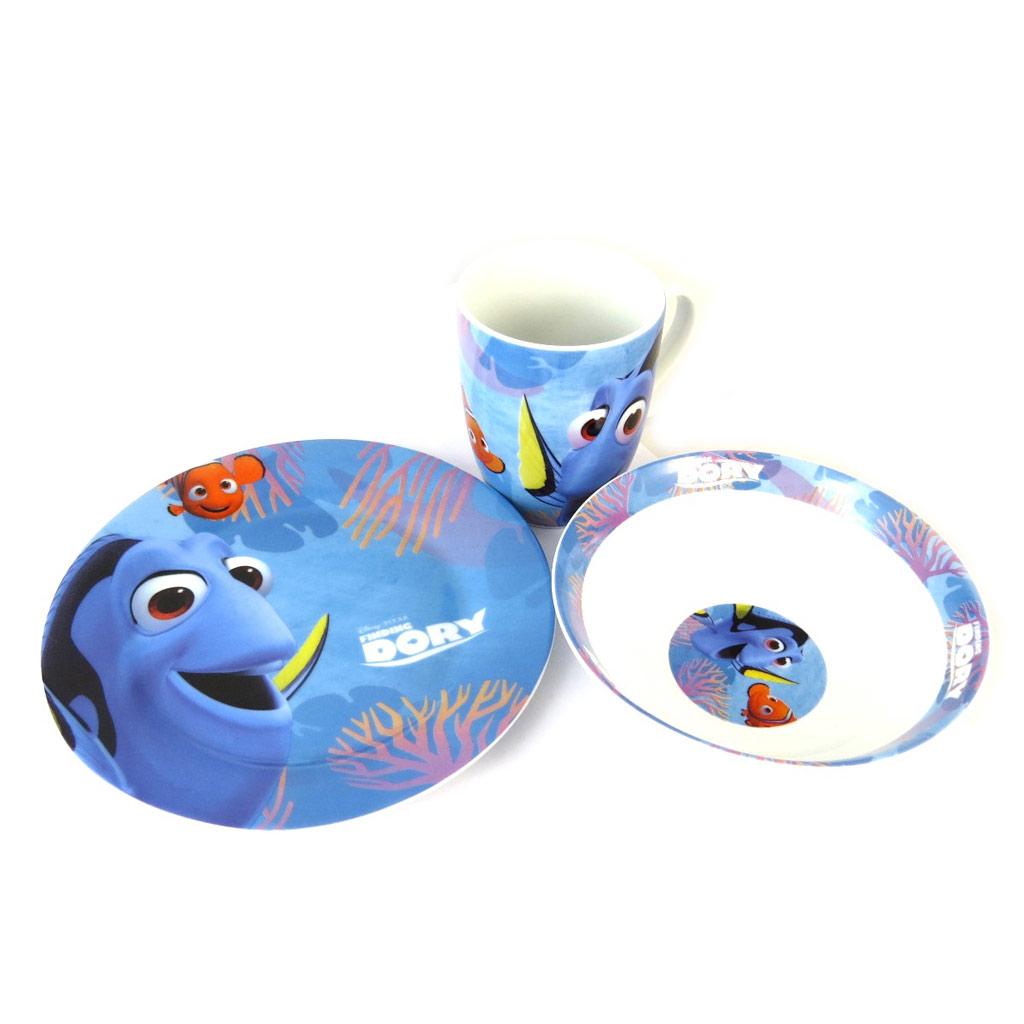 Coffret petit déjeuner porcelaine \'Dory\' bleu - 3 pièces - [N9602]